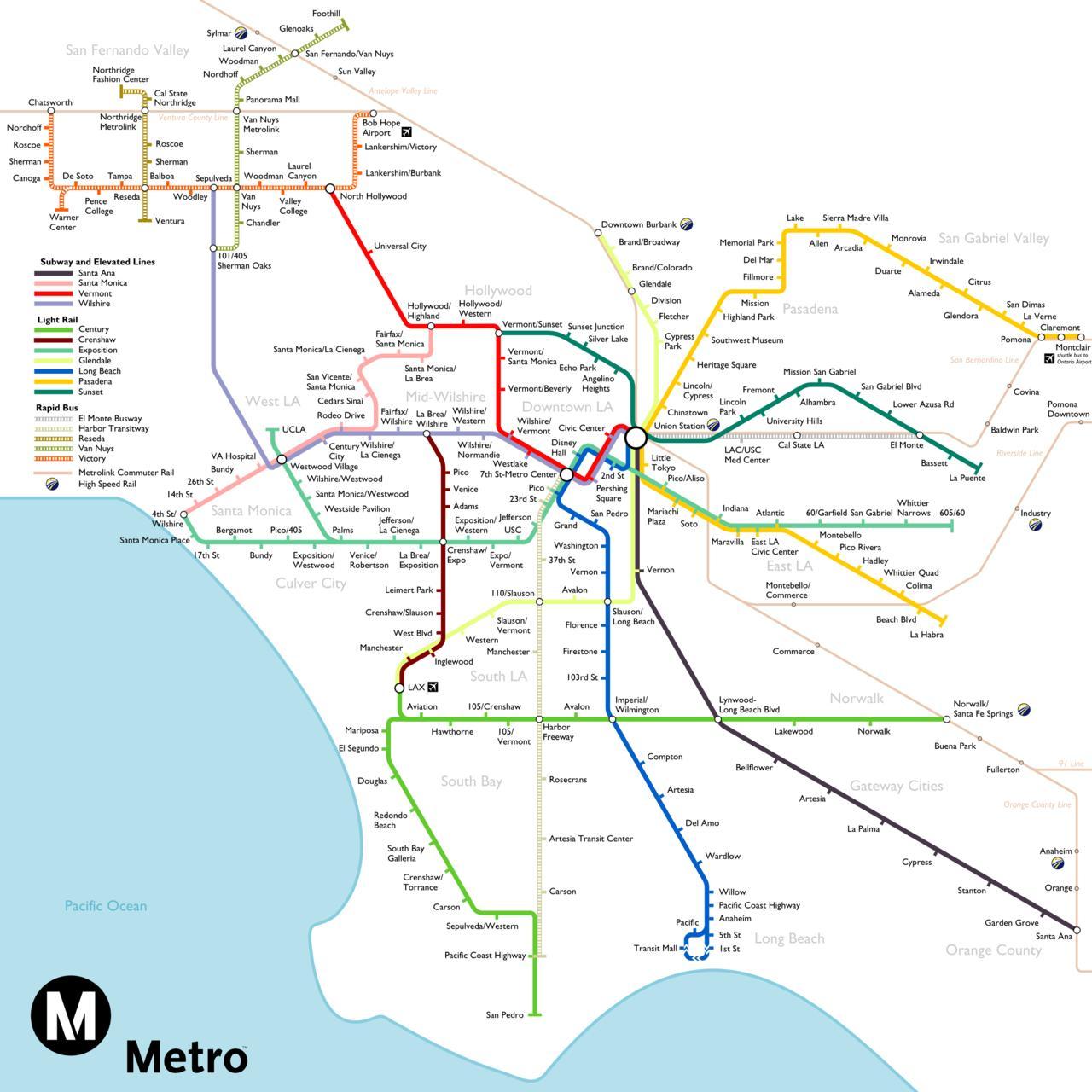 La Tunnelbana Karta La Tunnelbana Karta Kalifornien Usa