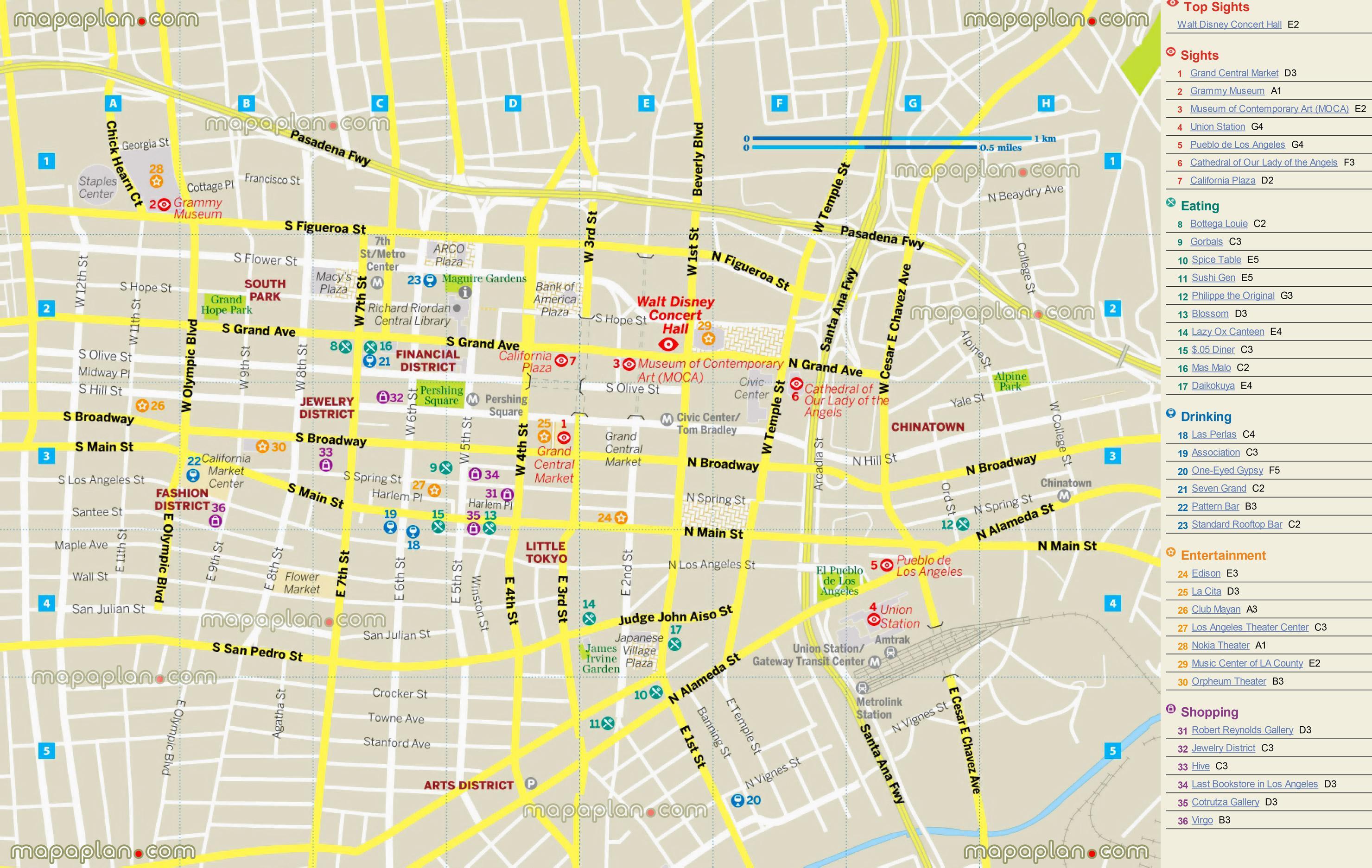 Restaurang Karta Los Angeles Karta Av Restaurang Karta Los